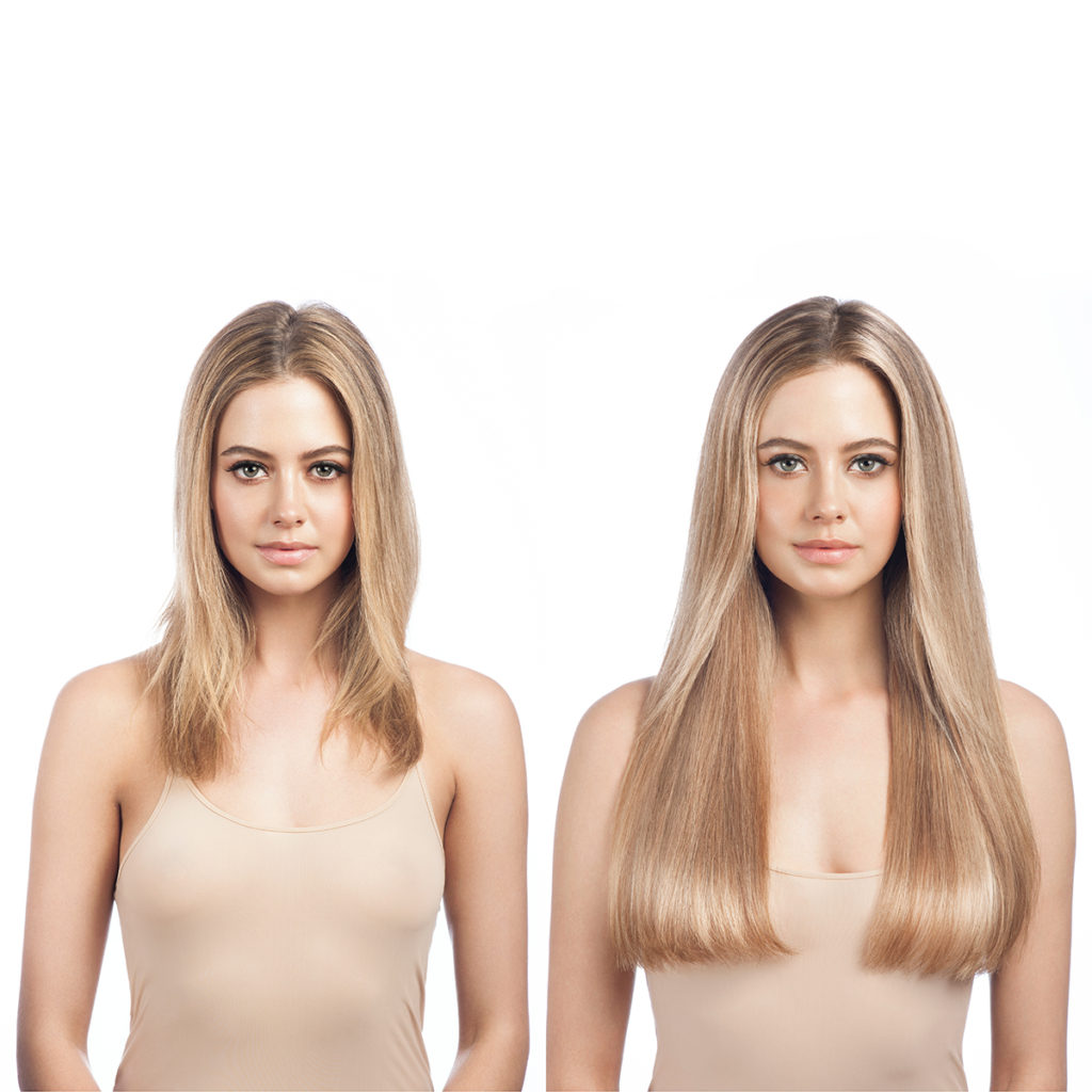 Example of Blonde clip-in hair extensions before and after
