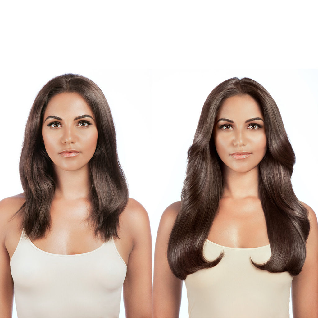 Example of Brunette Clip-in hair extensions before and after front facing